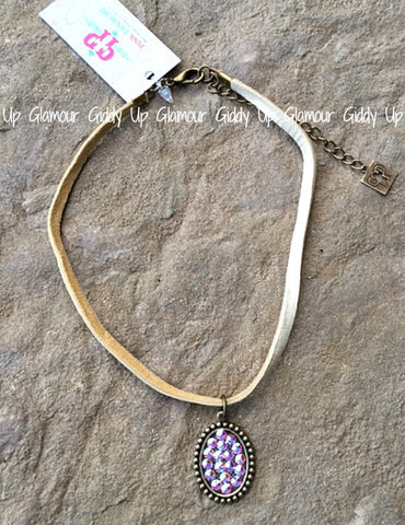 Pink Panache Cream Choker with Bronze Oval with AB Crystals