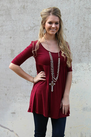 Everyday Classic Babydoll Tunic in Maroon