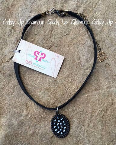 Pink Panache Black Choker with Black Matte Oval with Black Crystals