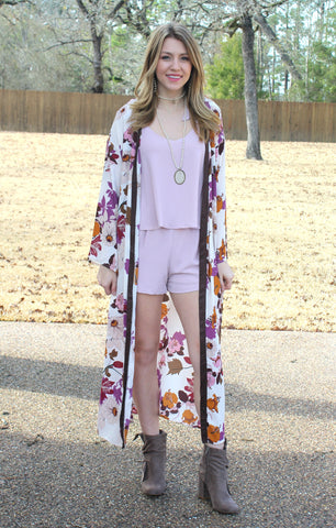 Close To Your Heart Floral Kimono in Purple