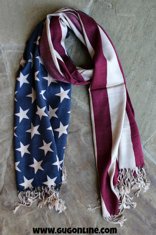 Vintage Distressed Look American Flag Pashmina Scarf