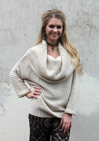 A Moment in Time Cowl Neck Ribbed Sweater in Ivory