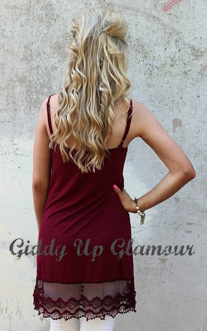Cut to the Lace Cami Slip with Lace Trim in Maroon
