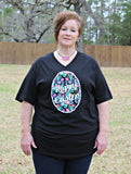 Happy Easter Decorated Easter Egg Short Sleeve Tee Shirt in Black