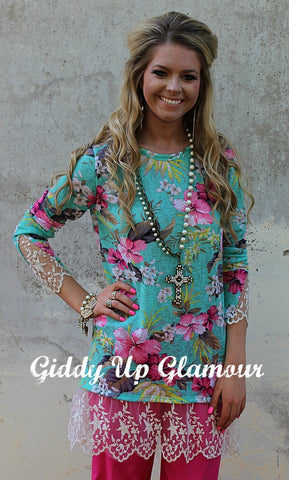 5eca38a0f0c7a0 Island Fever Mint Floral Top with Lace Trim ...
