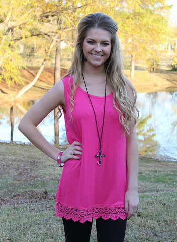 Back to the Basics Layering Tank with Crochet Trim in Hot Pink