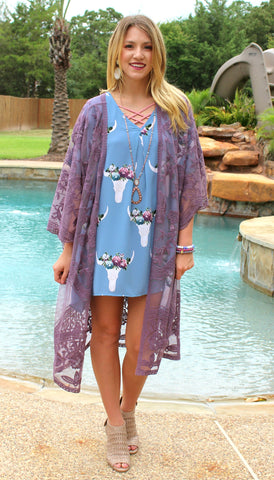 Pretty Little Thing Bull Skull Open Shoulder Tunic in Blue