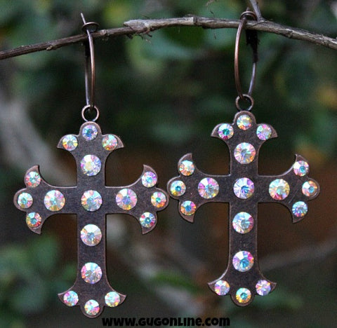 Antiqued Gold Cross Earrings with AB Crystals