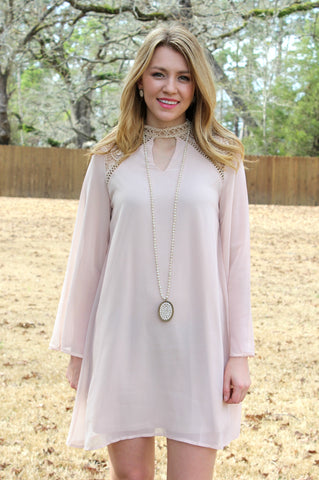 Sure To Be Long Sleeve Dress with Crochet Detailing in Taupe