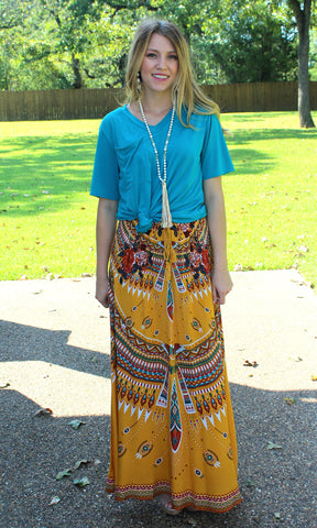 Unique Vibes Floral & Aztec Print Maxi Skirt in Mustard Yellow