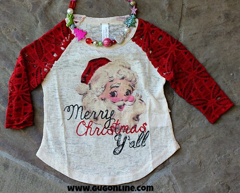 Kids Merry Christmas Y'all Baseball Tee
