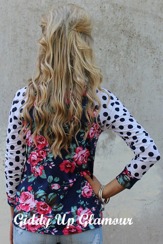 One of These Days Navy Floral and Polka Dot Long Sleeve Shirt