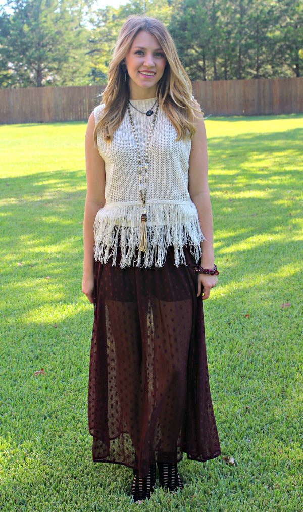 A Bit of Romance Chiffon Polka Dot Maxi Skirt in Maroon