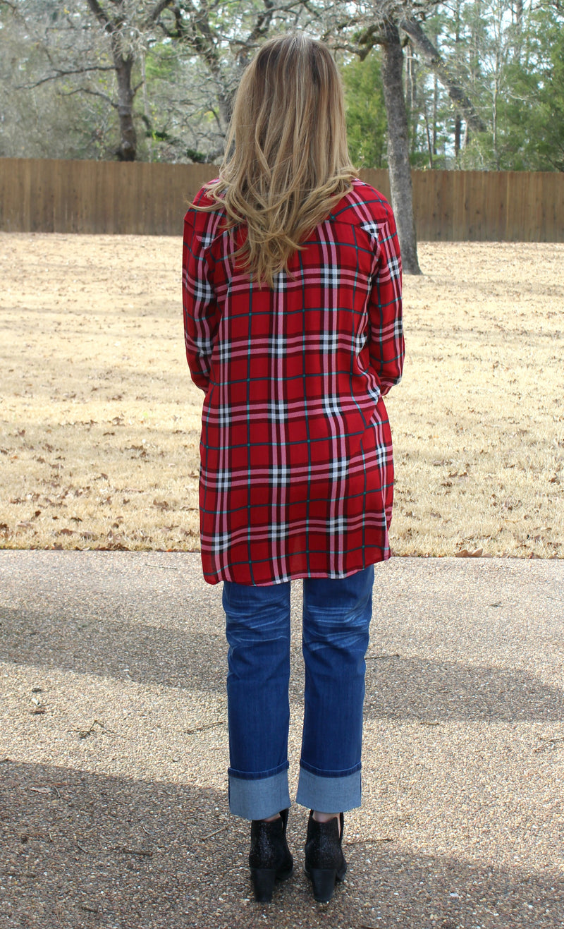 Cool Girl In Town Button Up Plaid Top in Red