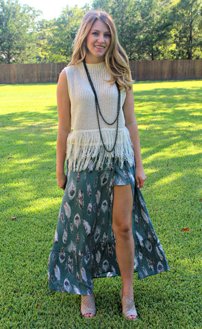 Wild and Free Feather Maxi Skirt in Dusty Sage