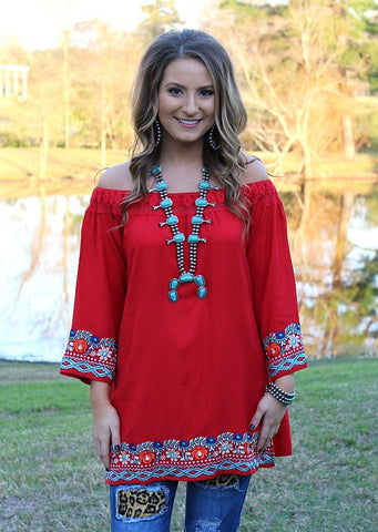 Show Me The World Top with Floral Embroidery in Red