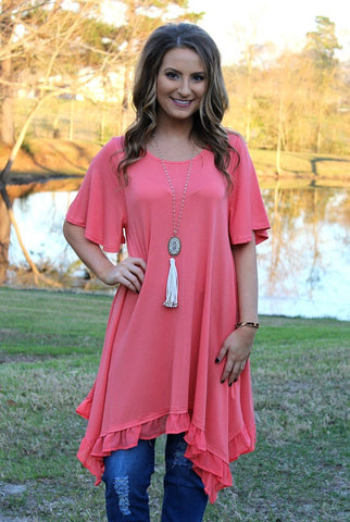 Ahead of the Curve Short Sleeve Tunic with Ruffle Hemline in Coral