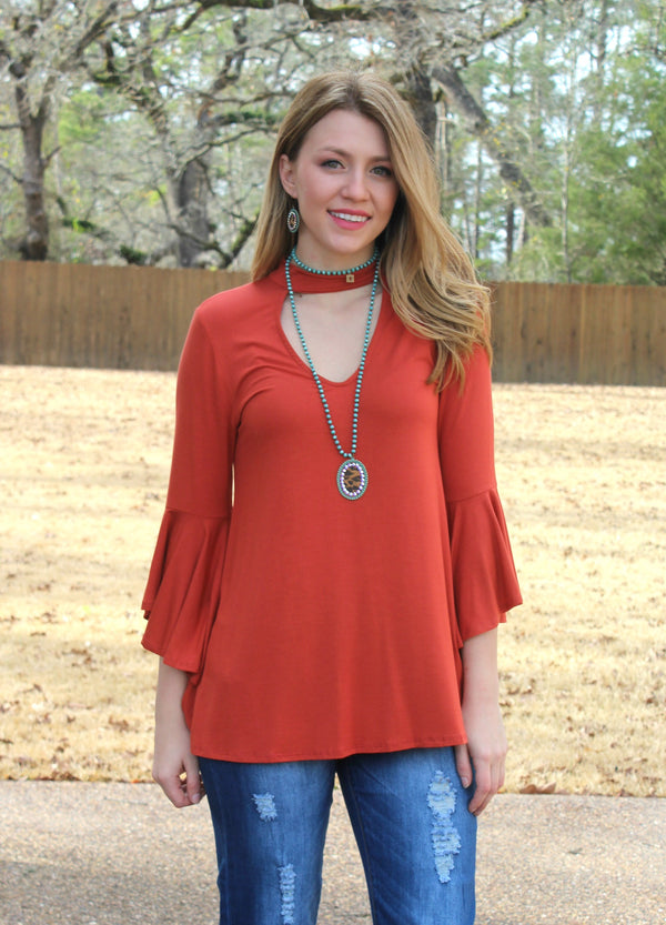 Simple Necessity Solid Bell Sleeve Top with Keyhole in Rust