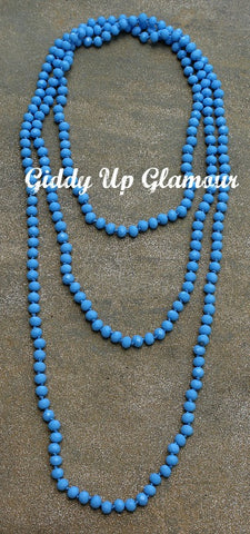 80 Inch Long Strand Crystal Necklace in Periwinkle Light Blue