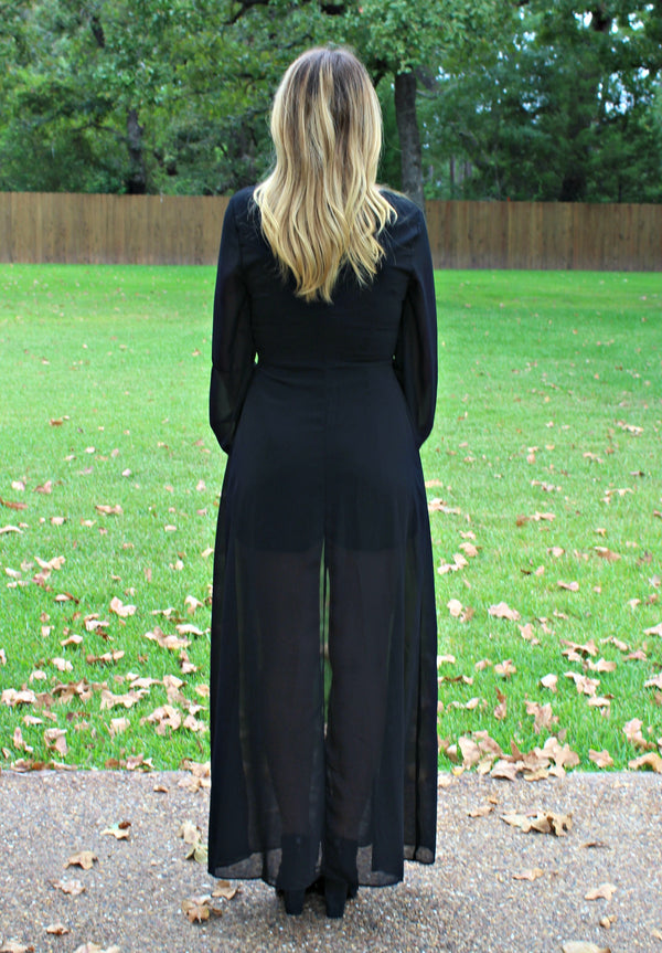 Hello Gorgeous Black Maxi Romper with Embroidered Roses