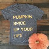 Pumpkin Spice Up Your Life Grey Short Sleeve Tee