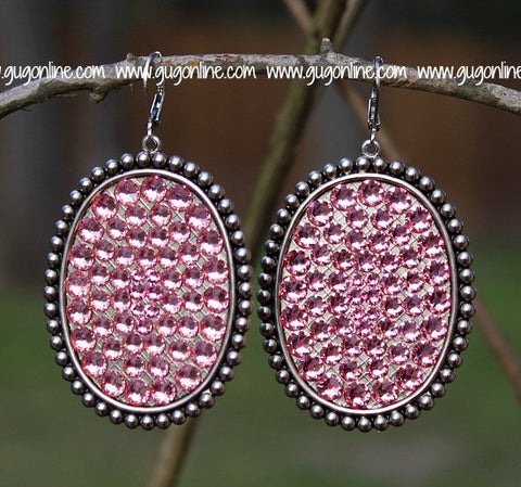 Pink Panache Silver Oval Earrings with Solid Crystals in Light Pink