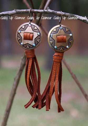 Pink Panache Bronze Star Concho Earrings with ST Crystals and Tan Leather Tassel