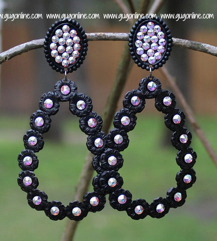 Pink Panache Black Matte Oval and Teardrop Earrings with AB Crystals