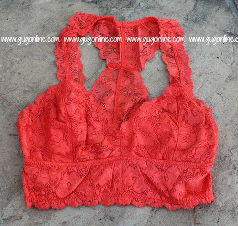 Racerback Lace Bralette in Orange