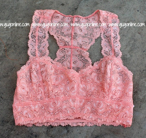 The Lace is On Bralette in Peach
