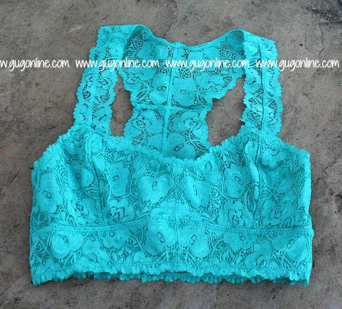 The Lace is On Bralette in Seafoam Turquoise