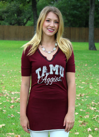 Game Day Collection: Trimmed to Perfection Texas A&M Beaded Tee
