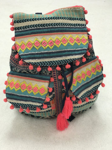 The Katie Backpack - Colorful Aztec with Pom Pom Details