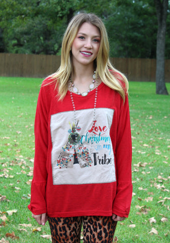 Love Christmas With My Tribe Dolman Sweater Top