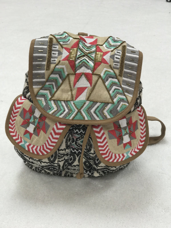 The Addison Backpack - Mint and Coral Beaded Backpack