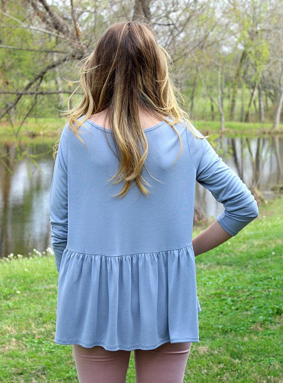 Softest Splendor Tiered Top with Caged Neckline in Dusty Blue