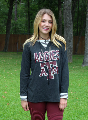 Game Day Collection: You'll Be Back Texas A&M Striped Tunic