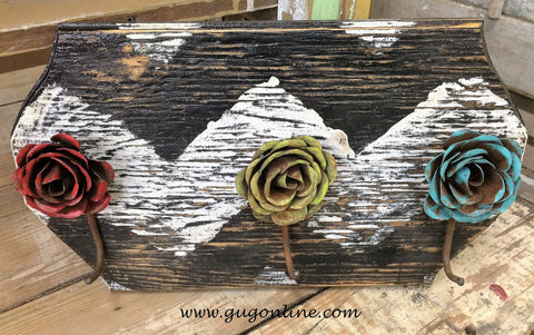 Rustic Handmade Chevron Jewelry Wall Hanger with Metal Roses