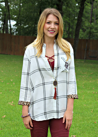 Game Day Collection: Wild About Plaid Texas A&M Plaid Button Up Top