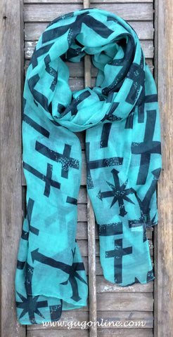 Mint and Navy Cross Scarf