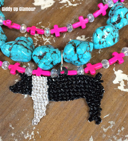 Fully Hand Crystallized Pig Pendant - 2 Sizes