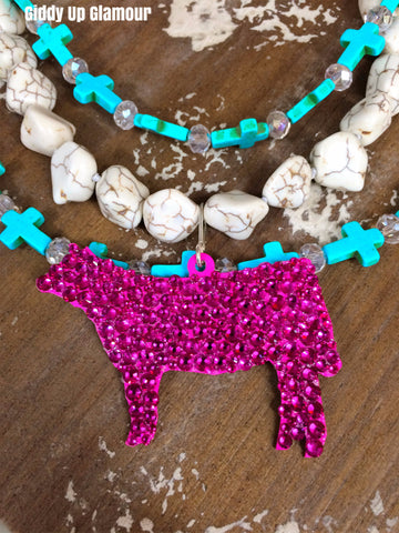 Fully Hand Crystallized Steer Pendant - 2 Sizes