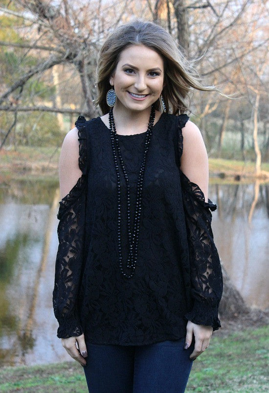 Just an Attraction Lace Cold Shoulder Blouse in Black