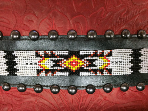 KurtMen Designs Cross Body Red Tooled, White and Black Beaded Design and Silver Studs, Black Fringe and Red Tooled Back Purse
