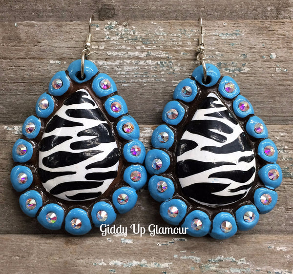 Polymer Clay Earrings Zebra Hippie Jewelry