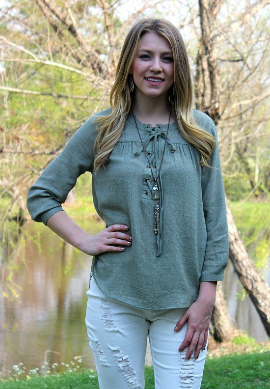 A Shift in Time Lace Up Top in Olive