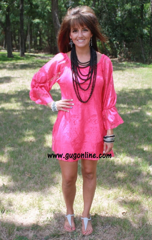 Lace the Facts Dress in Hot Pink