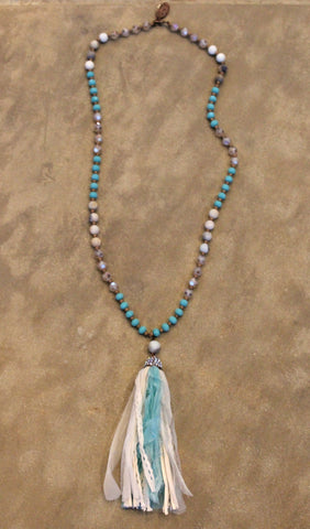 Long Turquoise and Champagne Necklace with Turquoise & Ivory Tassel