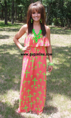 Holy Moly Cross Maxi Dress in Coral