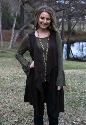 Crowd Pleaser Long Vest in Charcoal